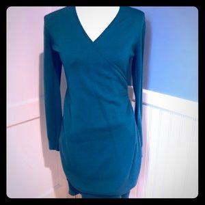 Loft teal colored sweater wrap dress